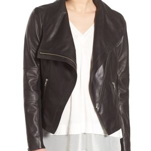 Trouve Drape Front Leather Jacket
